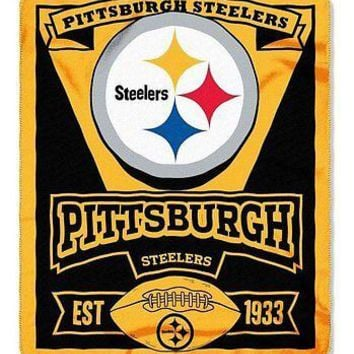 Pittsburgh Steelers NFL Marque Design 50x60 Fleece Throw Blanket