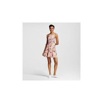 Mossimo Women's Printed Halter Neck Skater Dress, Pink Print, X-Small