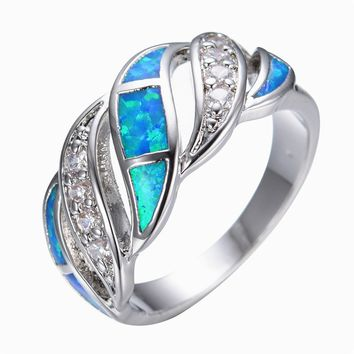 Blue Fashion Jewelry Crystal Fire Opal Ring 14KT White Gold filled 925 Sterling Silver Jewelry Wedding Rings For Women
