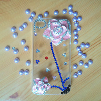 pink two roses plant.iphone case.jewelry.DIY iphone 4/4s case.