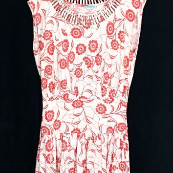 Anthropologie Leifnotes Scattered Stellate Drop Waist Dress Orange Floral Small - Preowned