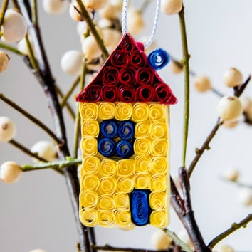 House Ornament - Christmas Ornament - Housewarming Gift - New House Ornament - Home Ornament - Yellow Blue Purple Green Ornament