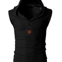 Hooded Button Design Sleeveless Tank Top