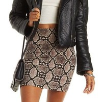 Multi Snakeskin Print Bodycon Mini Skirt by Charlotte Russe