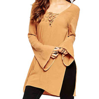 Yellow Plus Size Lace-Up Flare Sleeve T-Shirt