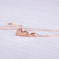 """Heart necklace, rose gold heart necklace, long heart necklace, love necklace, layered and long, valentines day, large heart pendant, """"Icelus"""