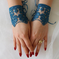 Wedding Gloves,  Blue Lace Gloves,Fingerless,Costume Accessories,Fingerless,Mittens Muffts Party,Prom a