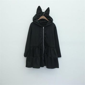 2016 Big bunny Rabbit Ears Harajuku Amo Lolita Cute Sweatershirt Hoodies Dress  fleece hoodie