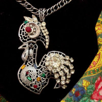 Portugal rooster rhinestones necklace Galo folk art Portuguese silver rooster pendant jewelry