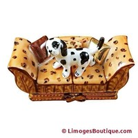 SPOTTED DOG ON COUCH LIMOGES BOXES