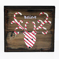 Rustic Wood Christmas Decor, Reindeer, Believe