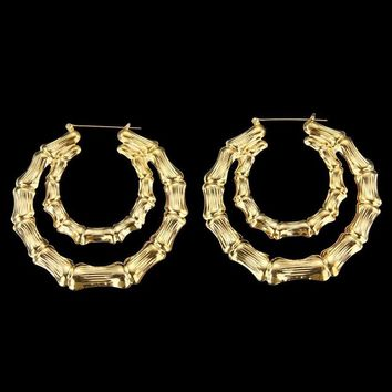 Stylish Bamboo Pattern Big Circle Hoop Earrings Pierced Shiny Elegent Lover Lady Gifts Gold Hoop-Earring #30