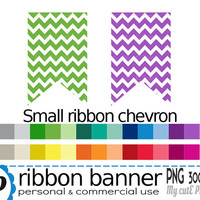 Ribbon banner CHEVRON small - Clipart - flag clipart - banner clipart - ribbon clipart - 30 colors - PNG 300 dpi - Instant download - CA25