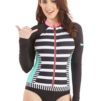 ModCloth Vintage Inspired Surfing the Swells One-Piece Swimsuit