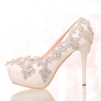 Luxry rhinestone Bridal shoes White Platform High Heels Sandals Handmade party Wedding Shoes