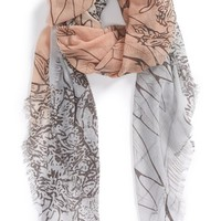 Junior Women's BP. Ombre Leaf Print Scarf - Beige