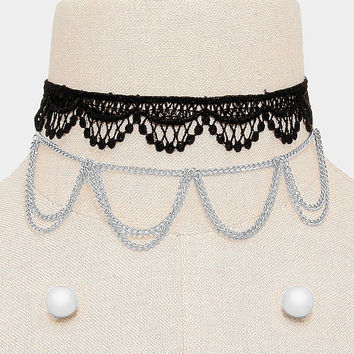 2 PCS - Black & Silver Draped Chain Necklace + Crochet Choker Set