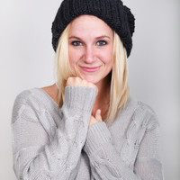 Slouchy Knit Beanie {Charcoal}
