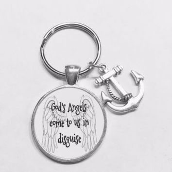 Anchor God's Angels Come To Us In Disguise Sister Mom Friend Gift Keychain