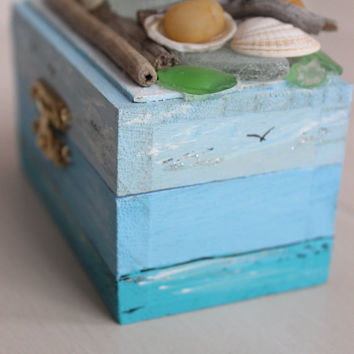 Nautical Treasure Chest , Coastal Mini Jewelry Gift Box , Ring Bearer Photo Prop , Beach Wedding Decoration