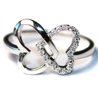 2 Interlocked Hearts Promise Ring Front