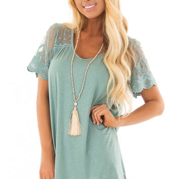 Sage Short Sleeve Top with Sheer Crochet Detail