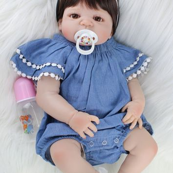 55cm Girl Body Full Silicone Reborn Baby Doll Toys Lifelike 22inch Newborn Princess Babies Doll with Magnetic Mouth Fashion Birt