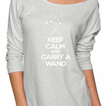Keep Calm and Carry a Wand Disney Style Off the Shoulder Workout Sweatshirt Fitness Sweatshirt