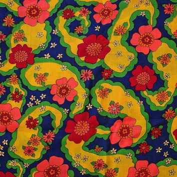 Vintage 1970s Floral Fabric Mod Paisley Flower Power Navy Blue Pink Yellow Green Burgandy
