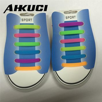 Wholesale 15pcs Arrow Type Silicone Lazy No Tie Rainbow Color Luminous Shoelace Running Sneakers Strings