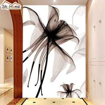 Customize Water Color Lilies Classical Floral Wallpaper for Wall 3d TV Background Wall Paper Living Room Non-woven Mural Rolls