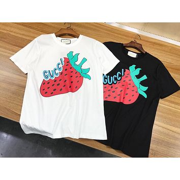 GUCCI Summer Casual Strawberry Print Pure Cotton T-Shirt Top