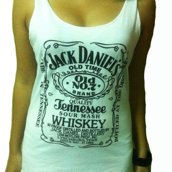 Jack Daniel's Whiskey White T-shirt Very Thin Cotton Tank Women's Tops Vest S M