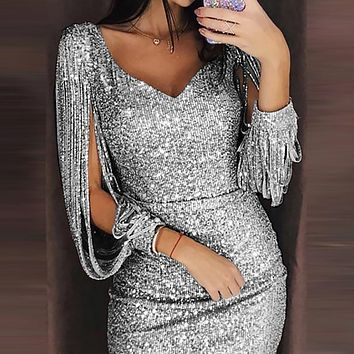 Gold Sequin Dresses Women 219 Summer Deep V Neck Sexy Dress Club Wear Mini Short Dresses Party Night Vestidos #2