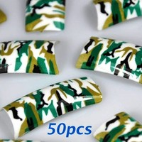 50 Army Green Pre-design False Acrylic Nail Tips