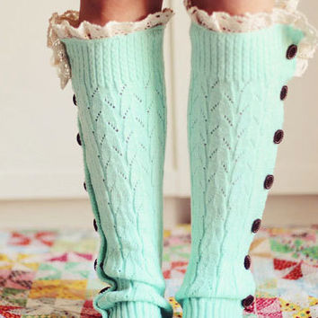 Mint Knitted Leg Warmers Boot Topper Crochet Lace Trim Wooden Buttons -- In Many Colors - Trending Items - Women's Accessories
