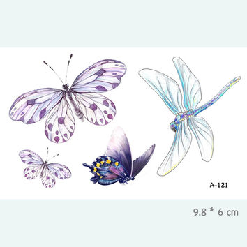 Butterfly Dragonfly Waterproof Temporary Tattoo Stickers for Adults Kids Body Art  Fake Tatoo for Women Men Tattoos A-121