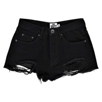 Carla Extreme Rip Black Denim Hotpants
