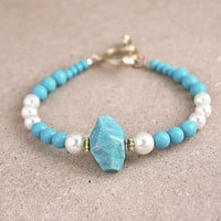 Amazonite bracelet, white and turquoise bracelet, faceted gemstone bracelet, beaded bracelet