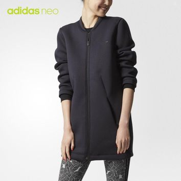 """Adidas Neo"" Women Sport Casual Letter Print Long Sleeve Zip Cardigan Medium Long Section Jacket Coat"