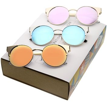 Women's Round Mirrored Flat Lens Cat Eye Sunglasses C359 [Promo Box]