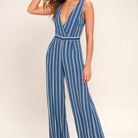 Montauk Yacht Club Blue and White Striped Jumpsuit