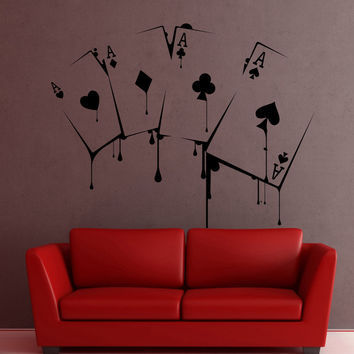 Wall Decal Sticker poker game gambling casino ace joker card swindle money free shipping