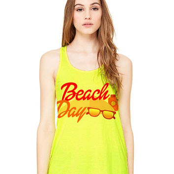 Neon Yellow Tank Top - Beach Day - Ladies Womens Racerback Beach Summer Outfit Spring Sand Sunglasses