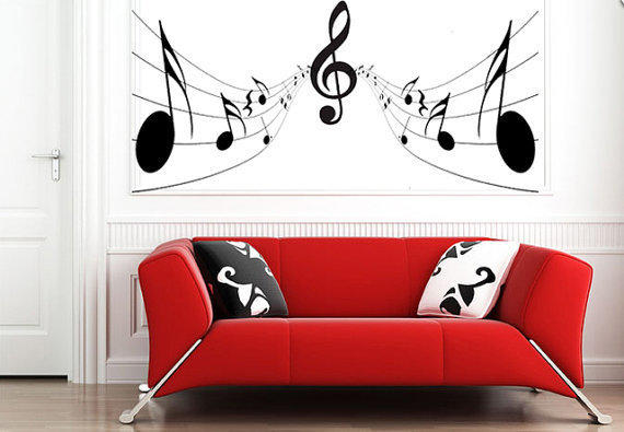Full Wall Mural Decals: Music Notes Wall Sticker Bedroom Kitchen From GDirect Wall
