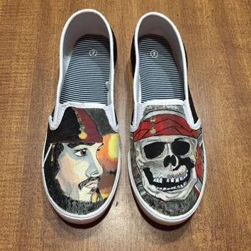 Pirates of The Caribbean Hand Painted Canvas Shoes (Generic Brand or Authentic Vans)