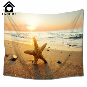 CHARMHOME Starfish and Sunset Summer Beach Theme Tapestry Wall Hanging Mandala Bohemian Indian Hippie Wall Art