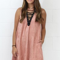 Laced Up High Neck Suede Pocket Dress {Rose Pink}