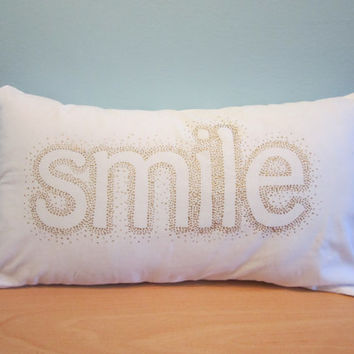 Smile Pilow, Throw Pillow Cover, White and Gold Pillow, Decorative Pillow, Gold Cushion, Home Decor