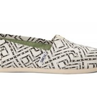 TOMS Black Geometric Tie-Dyed Women's Classics Slip-on Shoes,